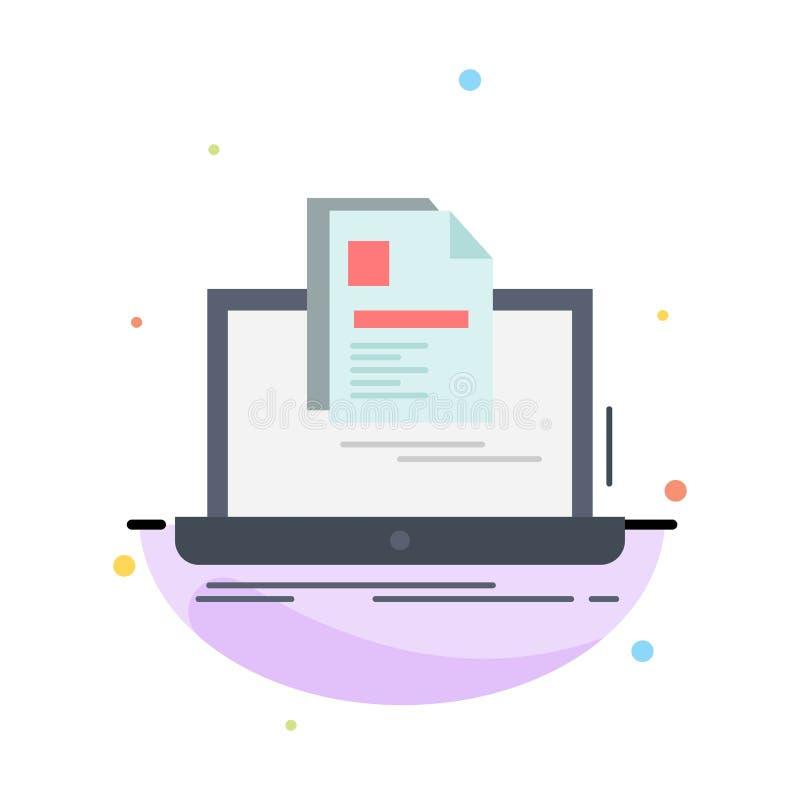 konto, laptop, raport, druk, życiorysu koloru ikony Płaski wektor ilustracji