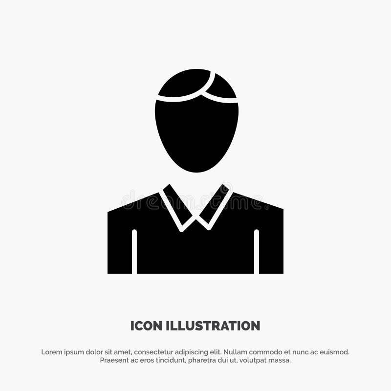 Konto, Mensch, Mann, Person fester Glyph-Ikonenvektor lizenzfreie abbildung