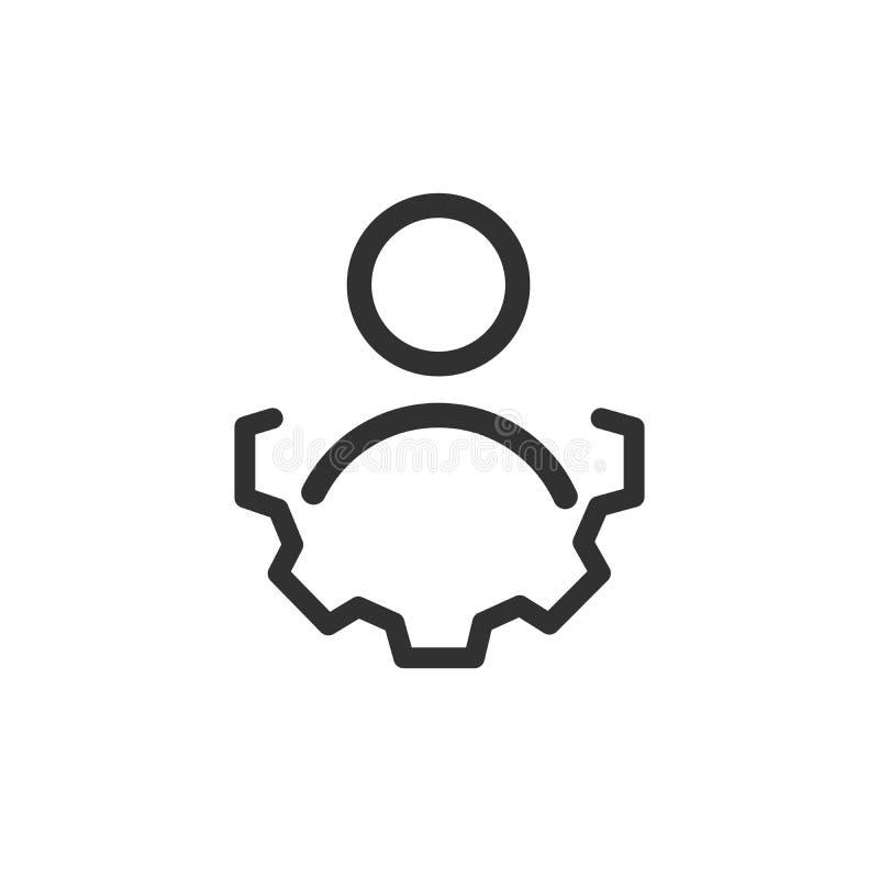 Kontoeinstellungssymbol Benutzer mit Gangradlinie Ikone, Entwurfsvektor-Logoillustration, lineares Piktogramm lokalisiert auf Wei vektor abbildung