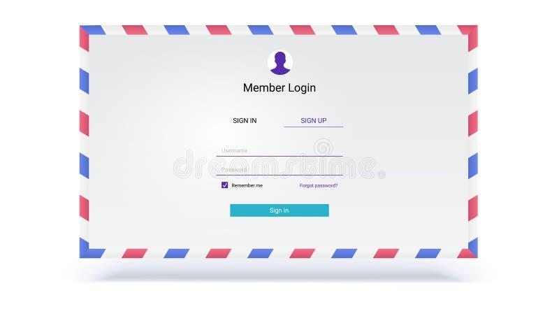Kontoermächtigung, Schnittstelle für Eingang über Anmeldung, Passwort Design der Sicherheitsanwendung UI auf Hintergrund von stock abbildung