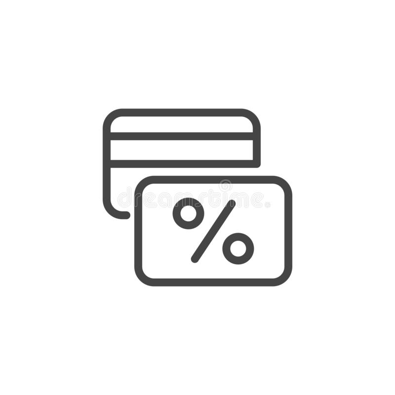 Kontokort med procentsatstecknet Linjär symbol från finansiell serie Kreditkorten hastigheten, rabatten, cashbacketikett isolerad vektor illustrationer