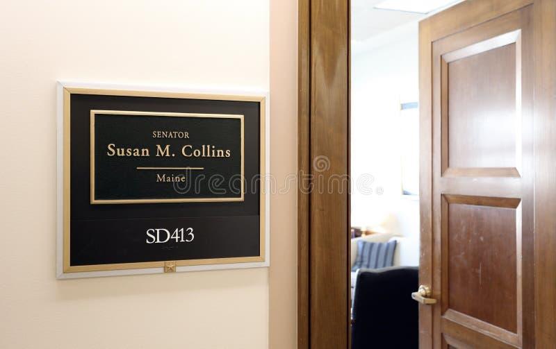 Kontor av Förenta staternasenatorn Susan Collins arkivbilder