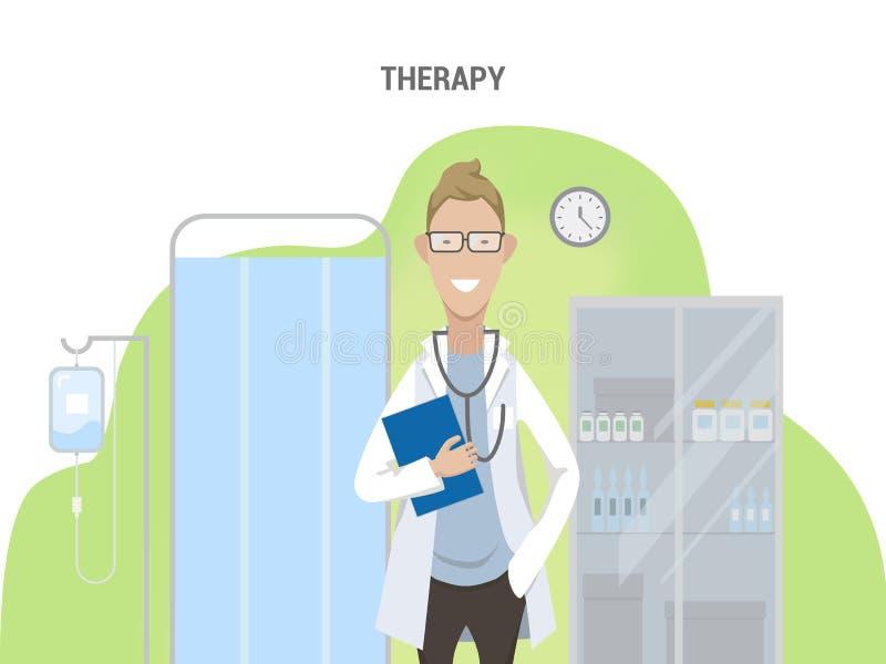 Kontor av terapeutCaucasian den manliga doktorn royaltyfri illustrationer