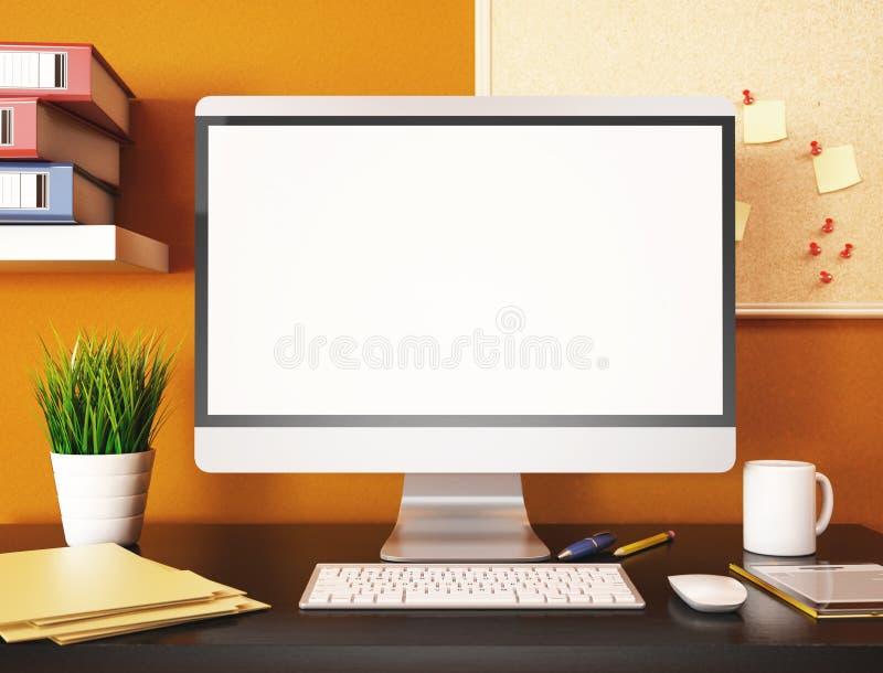 kontor 3D med den tomma datorskärmen Modell vektor illustrationer