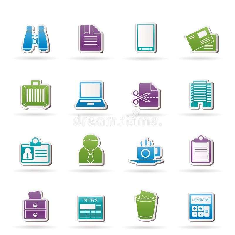 kontor för affärselementsymboler stock illustrationer