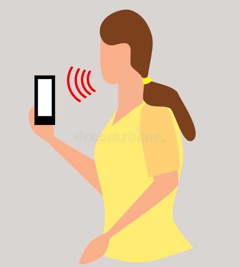 kontor för begrepp för teknologi för soundwaves för erkännande för personlig assistent för stämma för affärskvinnahålltelefon som stock illustrationer