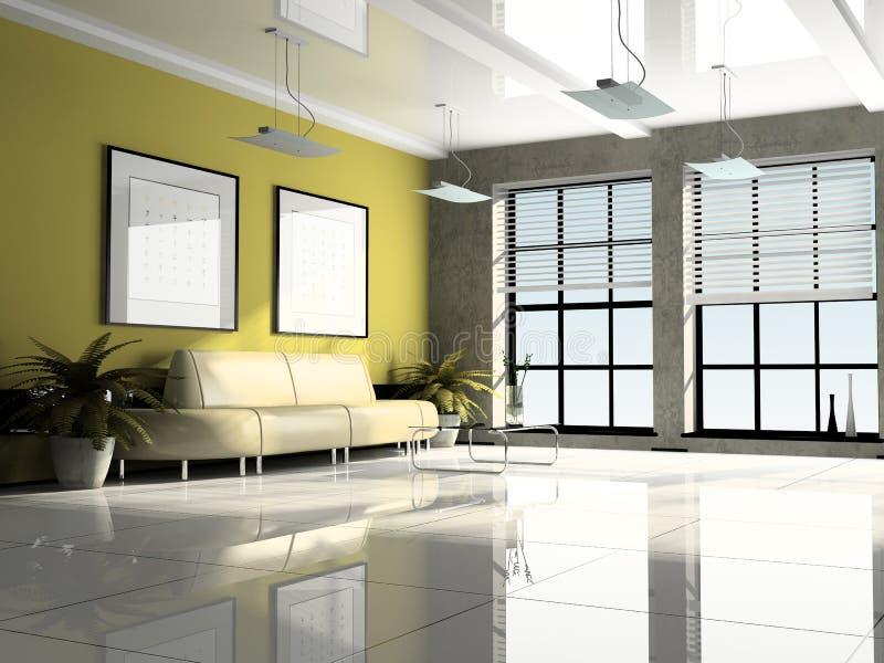 kontor för interior 3d royaltyfri illustrationer