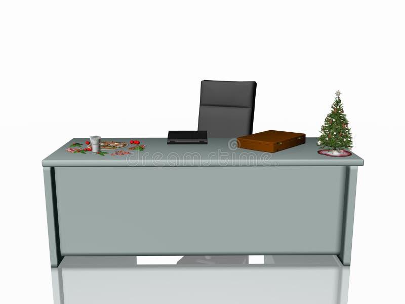 kontor för julkakaskrivbord royaltyfri illustrationer