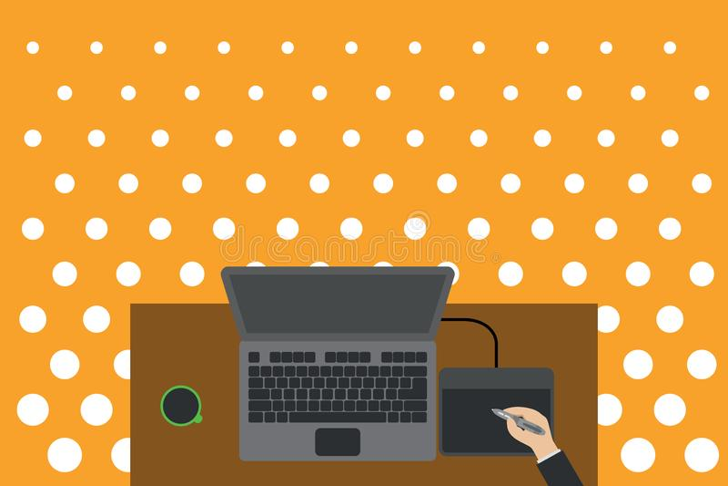 Kontor för minnestavla för teckning för person övreför siktsbärbar datorträskrivbord Kopp för kaffe för bräde för elektronisk app stock illustrationer