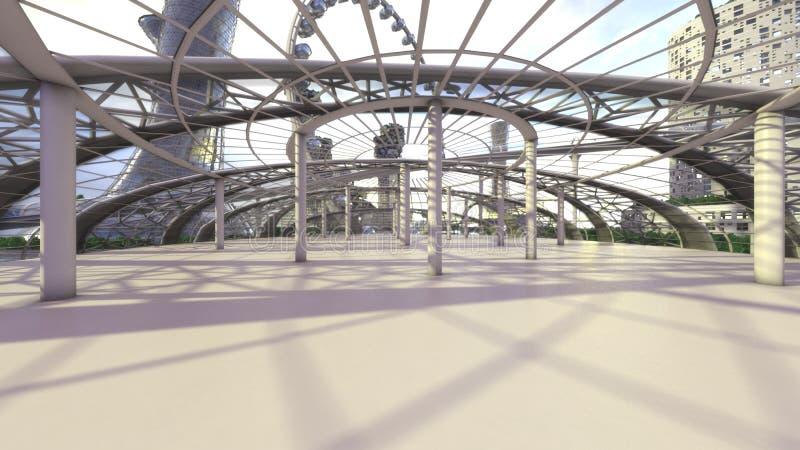 kontor Framtida stadshorisont för begrepp Futuristiskt affärsvisionbegrepp illustration 3d vektor illustrationer