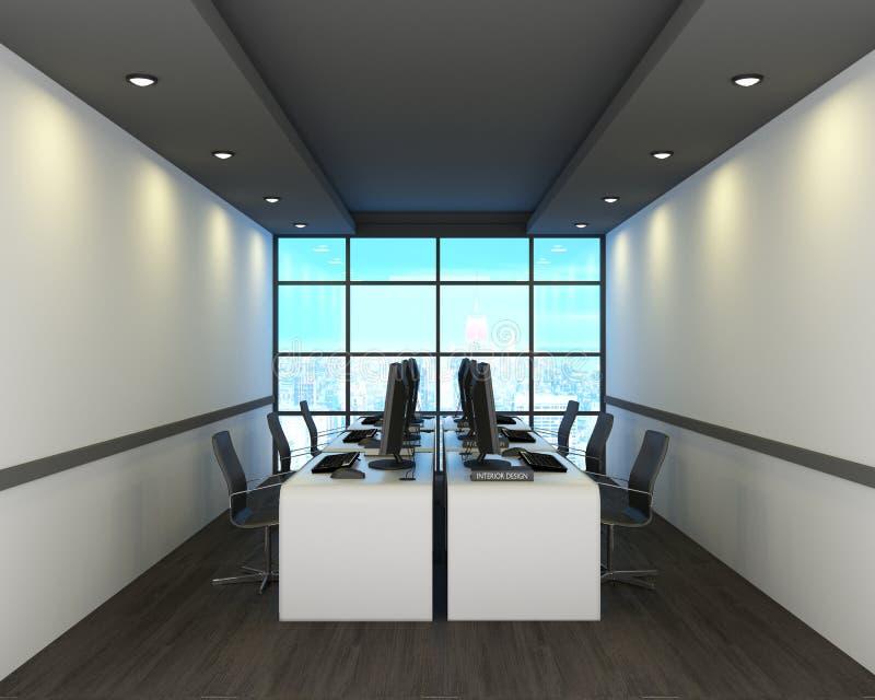 Kontor i modern stil på trägolv, stadssikt framf?rande 3d royaltyfri illustrationer
