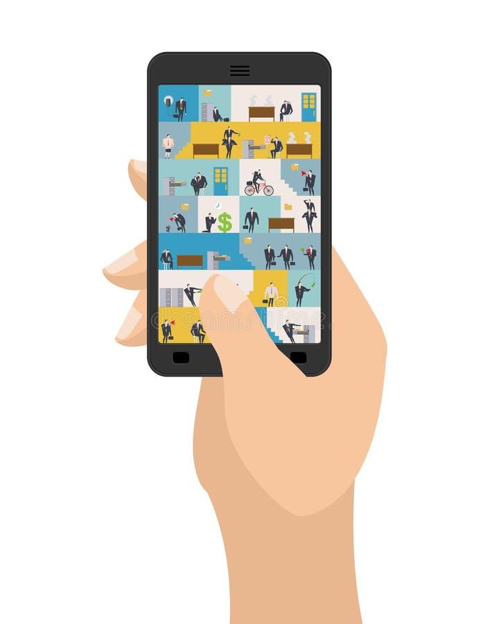 Kontor i smartphone Arbetsplats i telefon Chefer i arbete Busi stock illustrationer