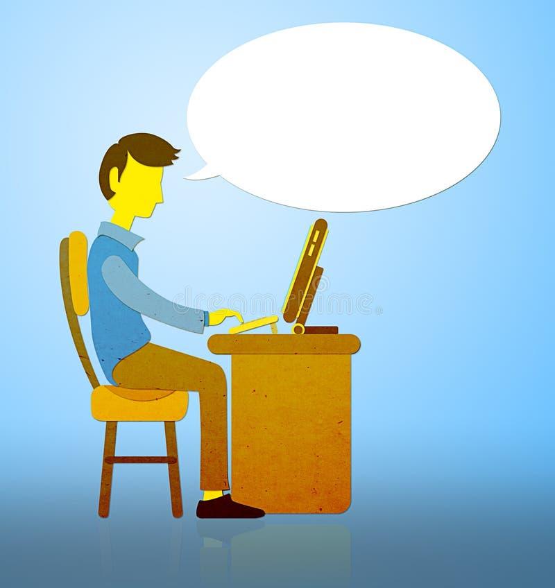 Kontor-man som arbetar med datoren vektor illustrationer