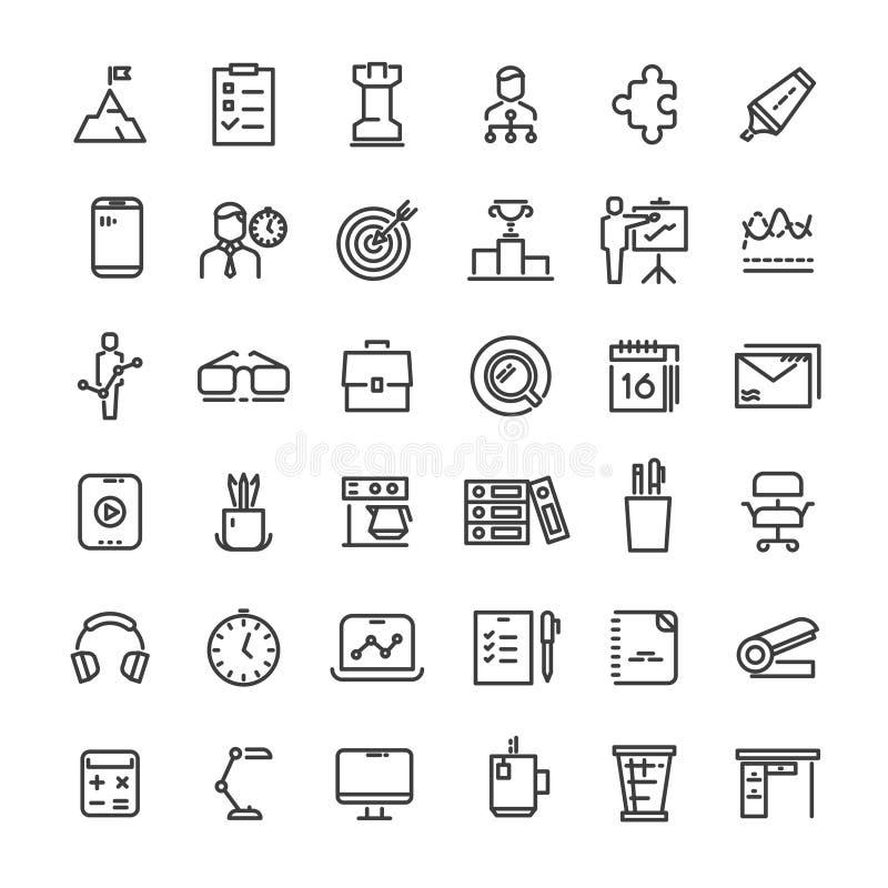 Kontor och samling för symboler för tidledning royaltyfri illustrationer