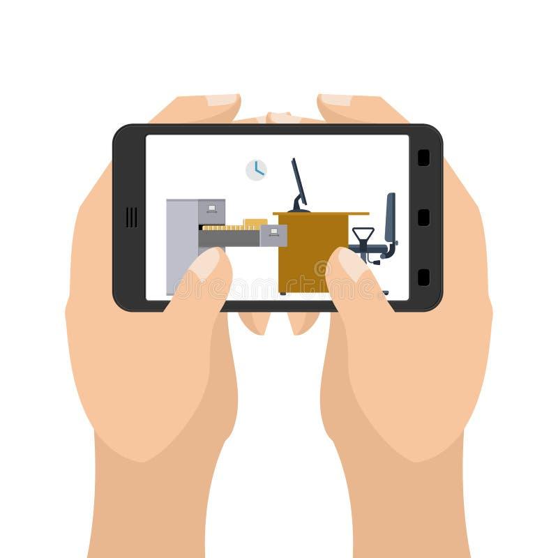 Kontor på minnestavlaleken Affär i en smartphone Handhåll stock illustrationer