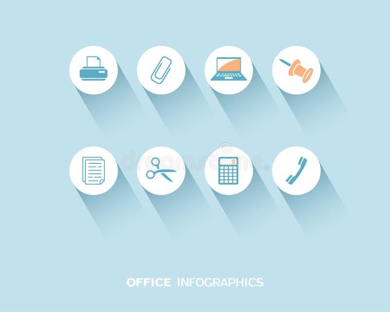 Kontor som är infographic med den plana symbolsuppsättningen stock illustrationer