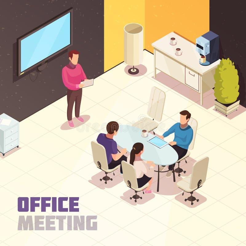 Kontor som möter den isometriska affischen stock illustrationer