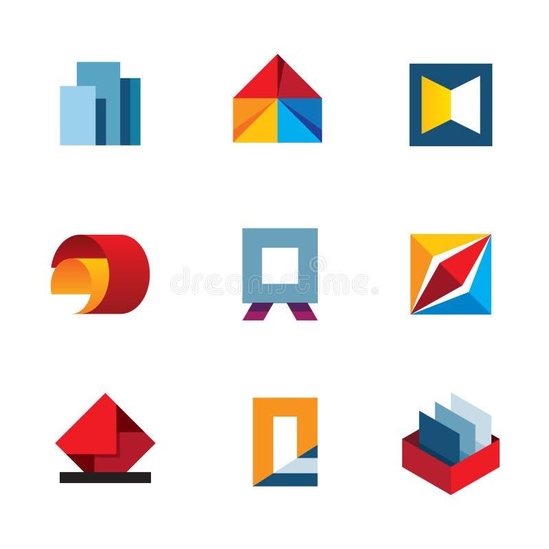 Kontoret inspirerar för affärsproduktivitet för innovation den färgrika uppsättningen för symbolen för logoen för hjälpmedel royaltyfri illustrationer