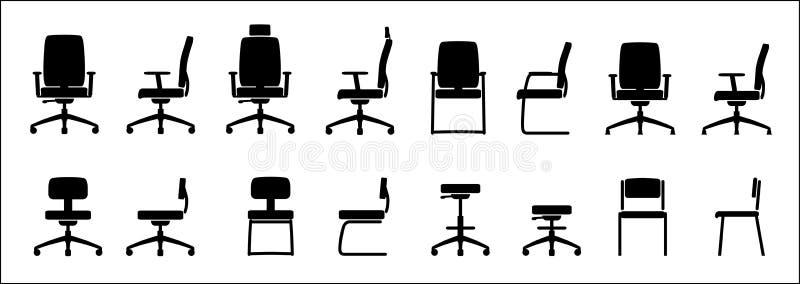 Kontoret presiderar symbolen vektor illustrationer