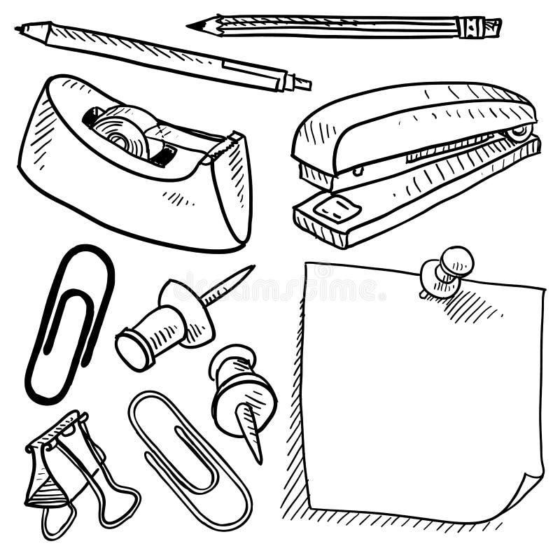 kontoret skissar tillförsel stock illustrationer