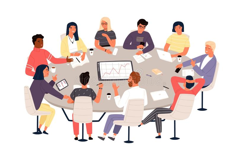 Kontorister eller kollegor som sitter p? den runda tabellen och diskuterar id?er eller id?kl?ckning Aff?rsm?te, formell f?rhandli stock illustrationer