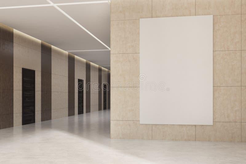 Kontors- eller hotelllobby med en affisch på den beigea väggen vektor illustrationer