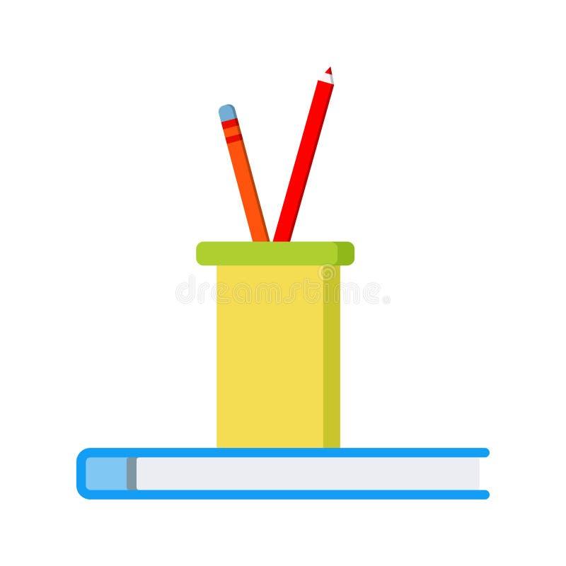 Kontors- eller skolasymbol: två kulöra blyertspennor i ett plast- exponeringsglas på den blåa notepaden vektor illustrationer