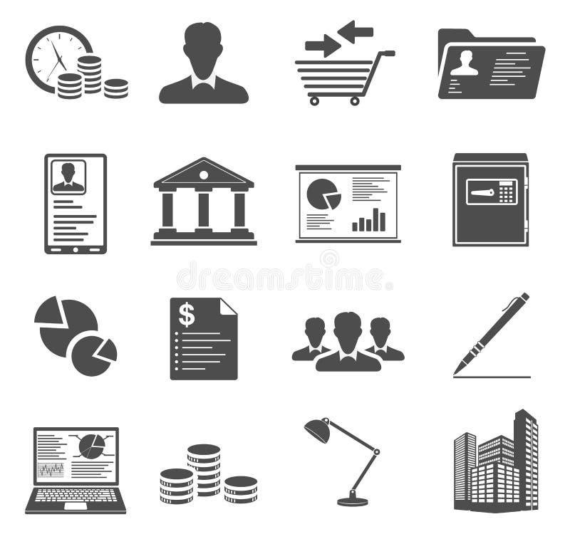 Kontors- och affärssymboler stock illustrationer