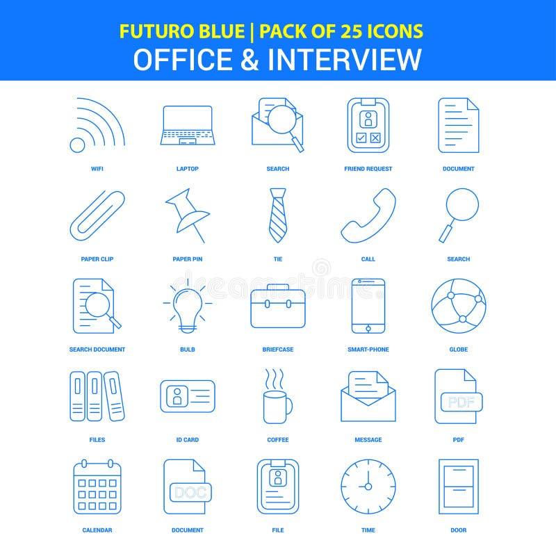 Kontors- och intervjusymboler - packe Futuro blå för 25 symbol royaltyfri illustrationer
