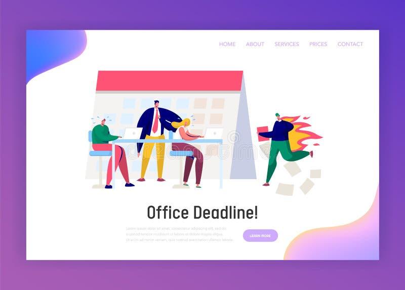 Kontorsaffärschef Work Overtime på stopptidlandningsidan Färdig uppgift för spänningstecken under det hårda framstickandet Pressu vektor illustrationer