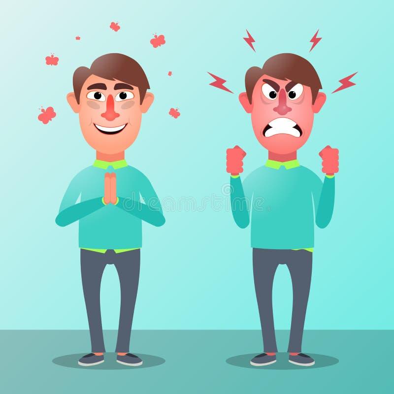 Kontorsarbetare i form av ett ont och lugna roligt tecken också vektor för coreldrawillustration vektor illustrationer