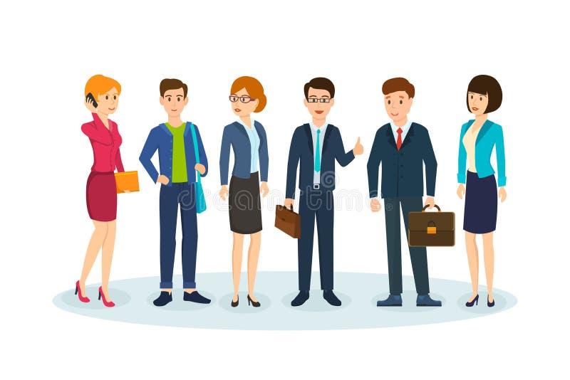 Kontorsarbetare i härlig affärskläder, med portföljer och påsar vektor illustrationer