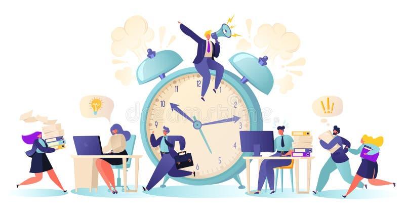 Kontorsarbetare och affärsfolk som på övertid arbetar på stopptiden royaltyfri illustrationer