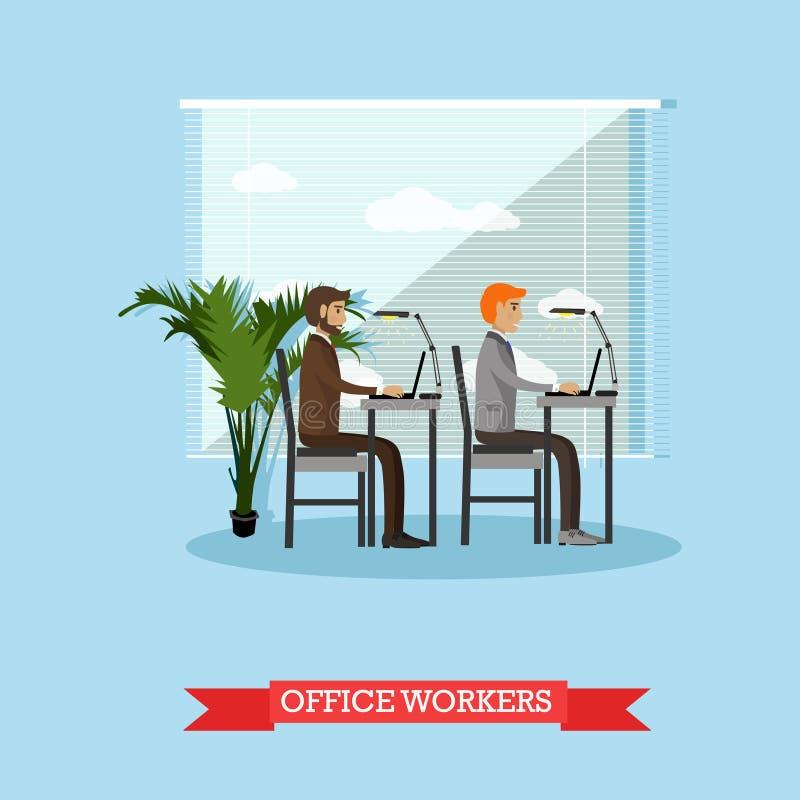 Kontorsarbetare och affärsfolket arbetar med datorer Vektorbanerbegrepp i plan stildesign royaltyfri illustrationer