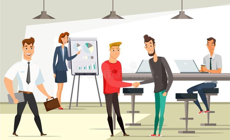 Kontorsarbetare på arbetsplatsvektorillustrationen vektor illustrationer