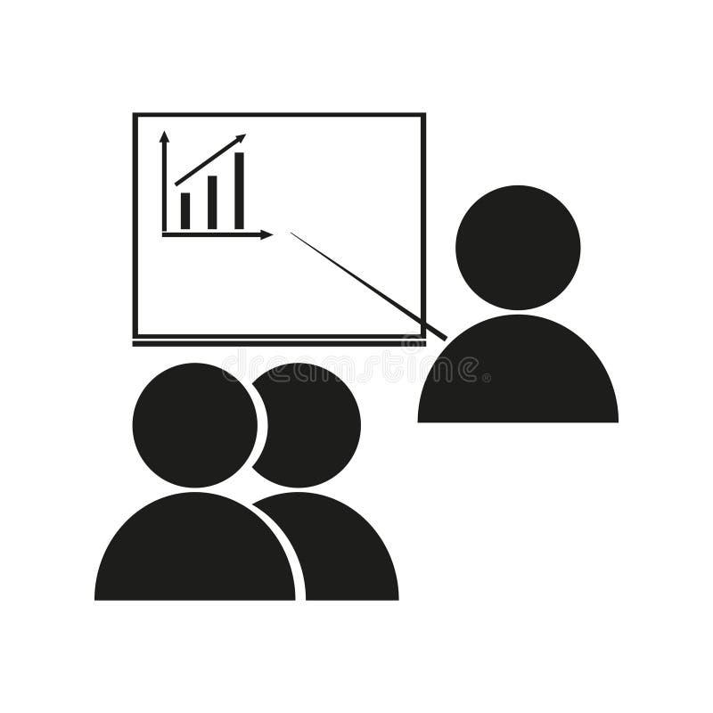 Kontorsarbetare på möteteckenillustrationen vektor Svart symbol på vit bakgrund vektor illustrationer