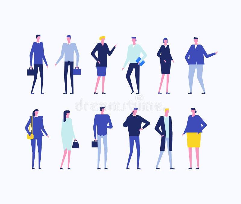 Kontorsarbetare - plan designstiluppsättning av isolerade tecken stock illustrationer
