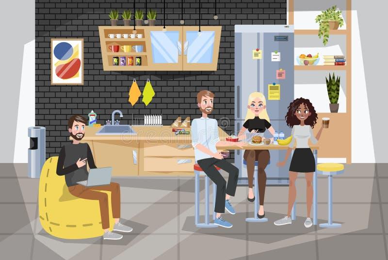 Kontorsarbetare som har lunch i buffé söt kopp för giffel för bakgrundsavbrottskaffe royaltyfri illustrationer