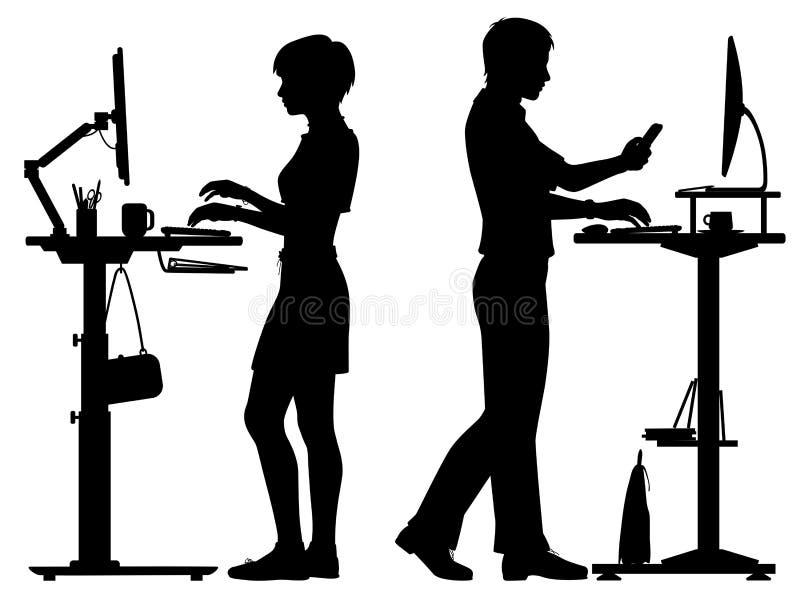 Kontorsarbetare som står skrivbordkonturn royaltyfri illustrationer