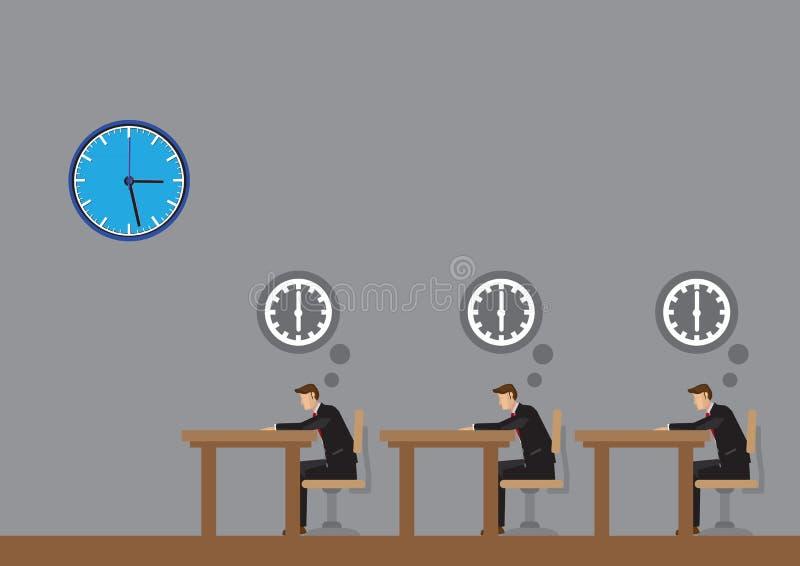 Kontorsarbetare som tänker knackar omkring, av den Tid tecknad filmvektorn Illu stock illustrationer