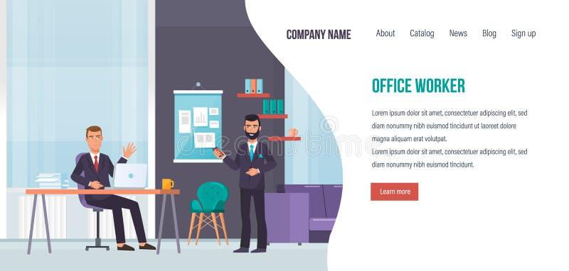Kontorsarbetare, teamwork med kollegor, kontorsinre, lyckad affär royaltyfri illustrationer