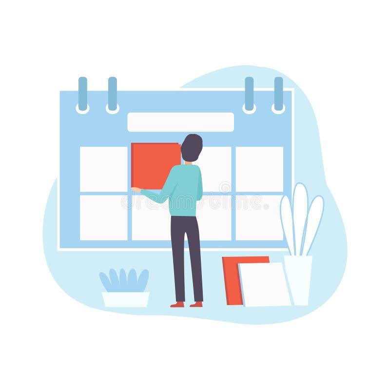 Kontorsarbetaren gör schema, affärsmannen Planning och kontrolleraarbetstid, affärsidé av Tid ledning vektor illustrationer