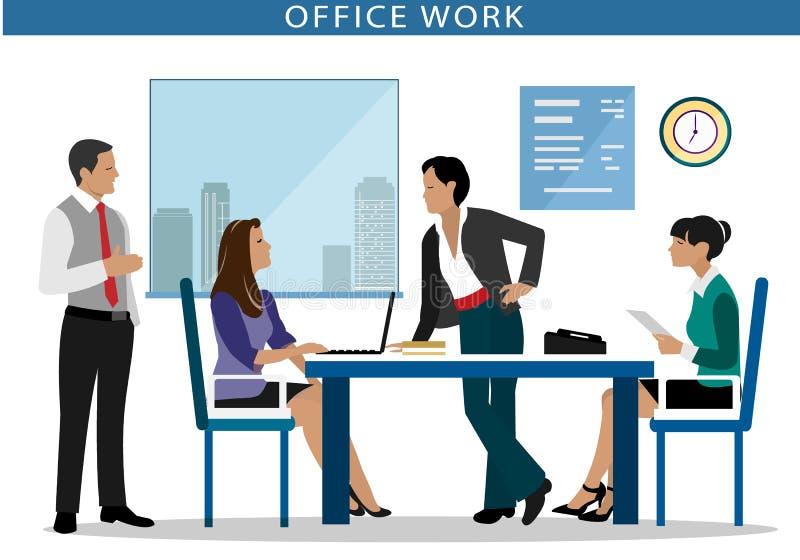 kontorsarbete Folk som arbetar på datorer i kontoret Plan stil stock illustrationer