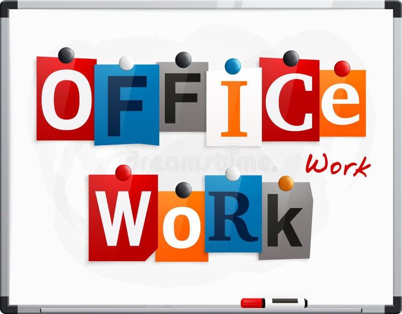 Kontorsarbete som göras från tidningsbokstäver som fästas till en whiteboard eller en noticeboard med magneter Markörpenna vektor stock illustrationer