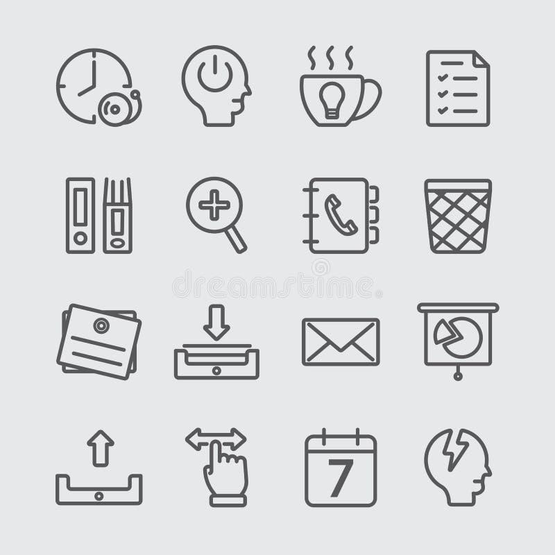 Kontorsarbetelinje symbol stock illustrationer