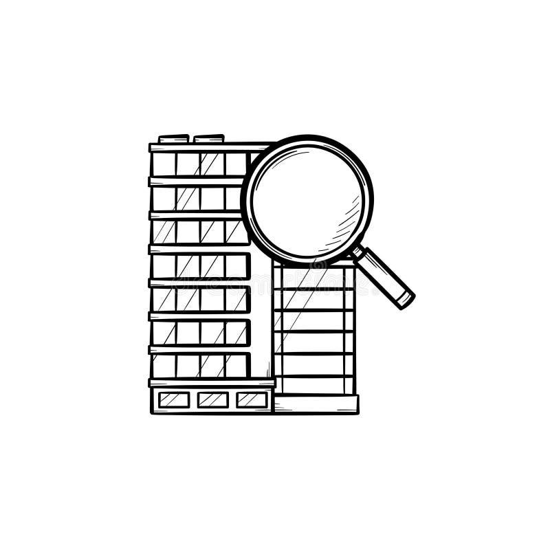 Kontorsbyggnad med dragit översiktsklotter för förstoringsglas hand vektor illustrationer