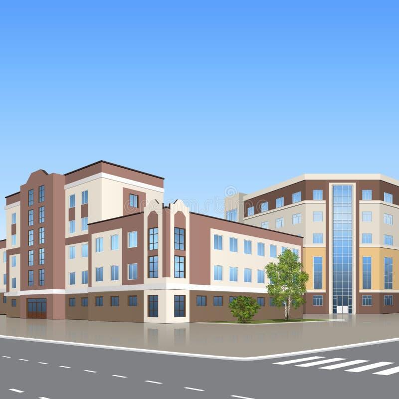 Kontorsbyggnad med ing?ngen och en reflexion vektor illustrationer