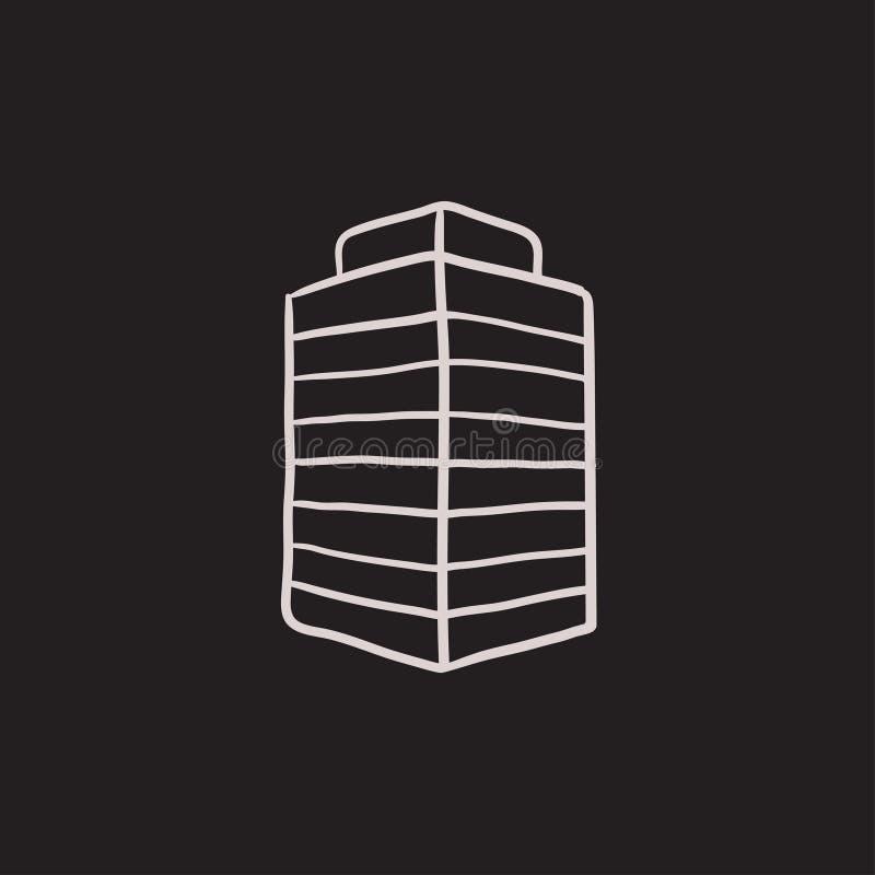Kontorsbyggnad skissar symbolen royaltyfri illustrationer