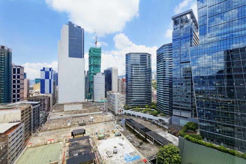 Kontorsbyggnader på dagen, Hong Kong kwuntång arkivfoton