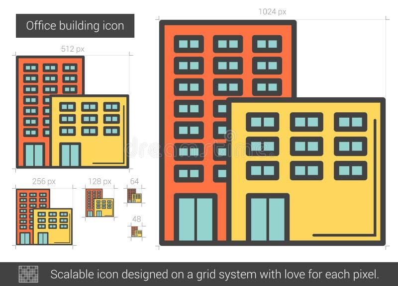 Kontorsbyggnadlinje symbol vektor illustrationer
